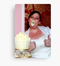 give us a kiss beautiful bride Canvas Print