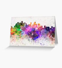 Houston skyline in watercolor background Greeting Card