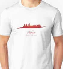 Incheon skyline in red T-Shirt