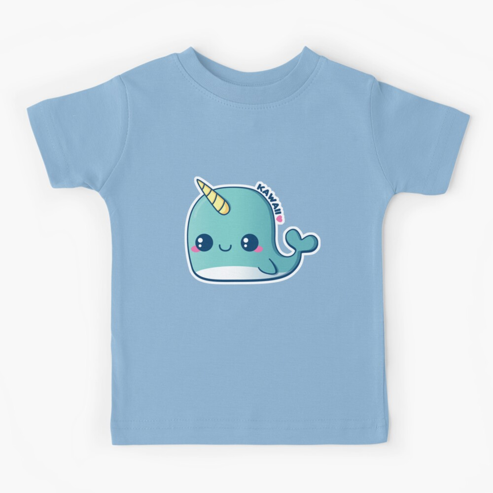Kawaii Blue Narwhal Kids T-Shirt