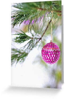 Christmas ornament on a snowy pine tree branch by Marianne Campolongo