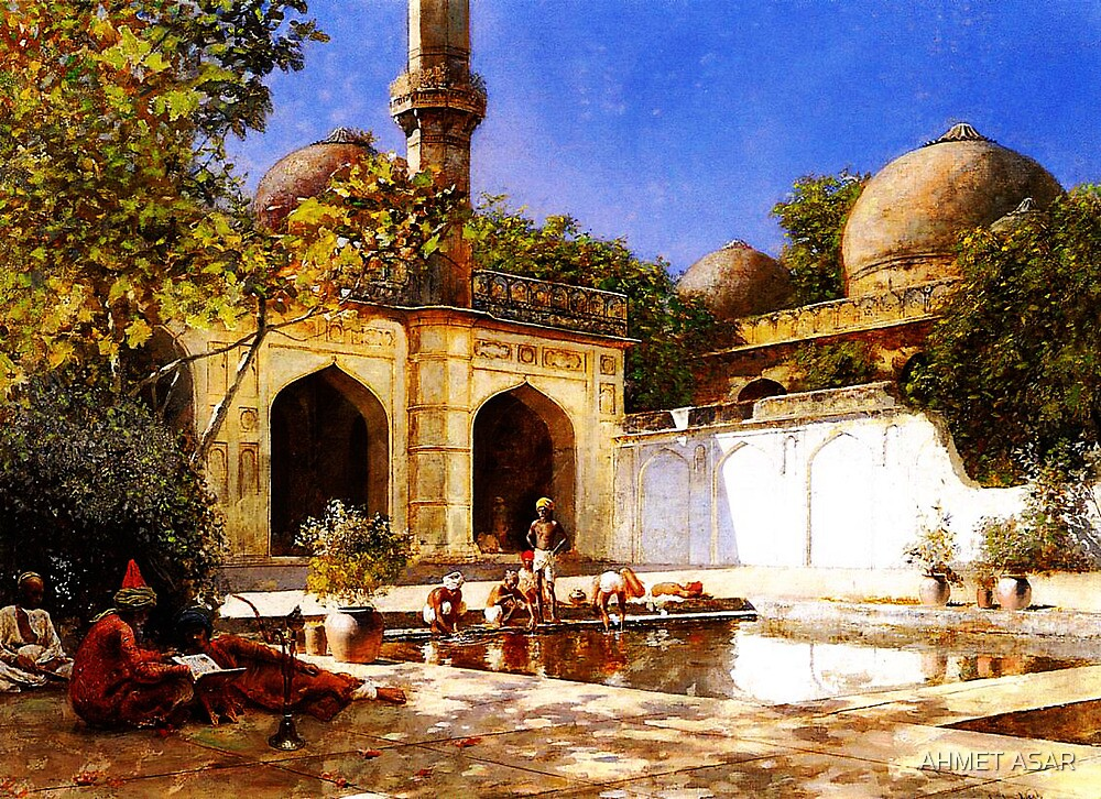 figures in the courtyard of a mosque by MotionAge Media