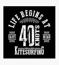 40 Knots Kitesurfing White Graphic Photographic Print