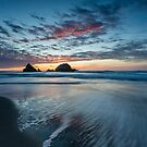 Water Streaking Sunset at Seal Rock by Toby Harriman