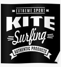 Kitesurfing Authentic Products White Graphic Poster