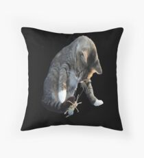 White Pawed Tabby Cat Playing With Winged Insect Throw Pillow