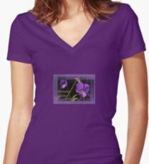 Viola Pansies Birthday Wishes Greeting Women's Fitted V-Neck T-Shirt
