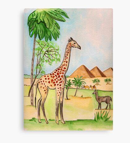 A Giraffe by the Pyramids Canvas Print