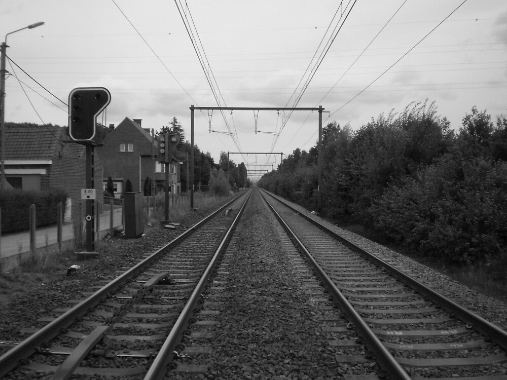 Along the railroad In black and white by Drewlar