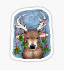 Deer with Holly Sticker
