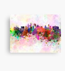 Kansas City skyline in watercolor background Canvas Print