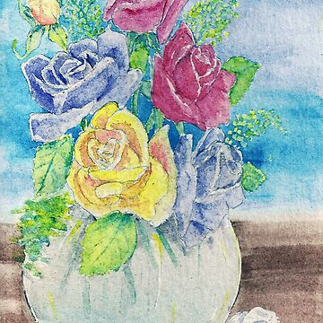 Pot of Roses by Annartiste