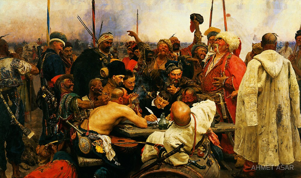 ilya repin 3 reply of the zaporozhian cossacks to sultan mehmed iv of ottoman empire1 by MotionAge Media