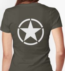 ARMY, AMERICAN, Army Star & Circle, WAR, WW11, Army Star, Jeep, USA, America, American, White on Green Womens Fitted T-Shirt