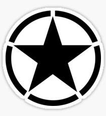 ARMY, Army Star & Circle, Jeep, War, WWII, America, American, USA, Black on White Sticker