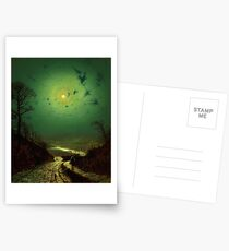 John Atkinson Grimshaw  Moonlight Wharfedale (1871) Postcards