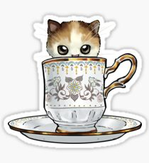 Kitten in a Tea Cup, original colors Calico Kitten floral vines Sticker
