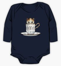 Kitten in a Tea Cup, original colors Calico Kitten floral vines One Piece - Long Sleeve