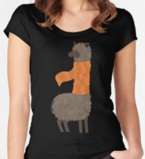 Llama In A Scarf Keeping Warm Women's Fitted Scoop T-Shirt