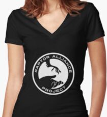 Raptor Alliance Project: White Women's Fitted V-Neck T-Shirt