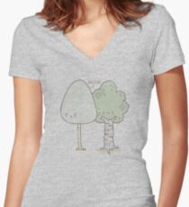 Birch Please. Women's Fitted V-Neck T-Shirt
