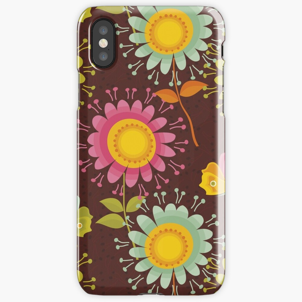 Colorful daisies with butterflies iPhone Case & Cover