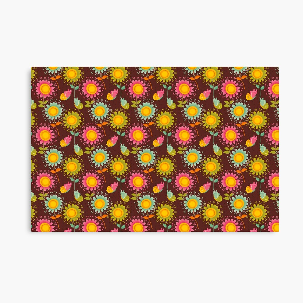 Colorful daisies with butterflies Canvas Print