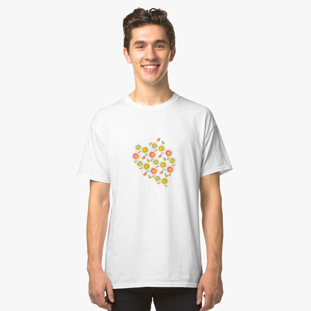 Colorful daisies with butterflies Classic T-Shirt