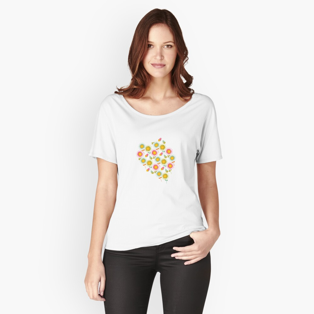 Colorful daisies with butterflies Relaxed Fit T-Shirt