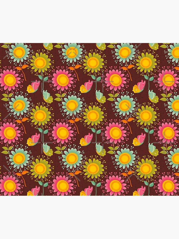 Colorful daisies with butterflies by rusanovska