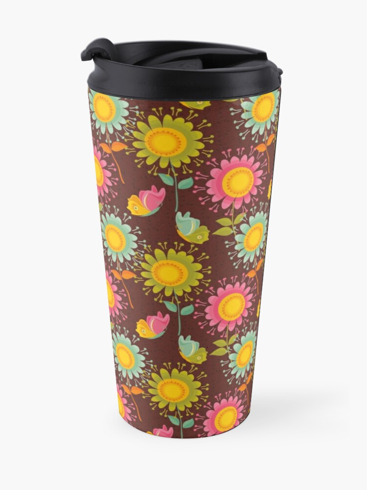 Alternate view of Colorful daisies with butterflies Travel Mug