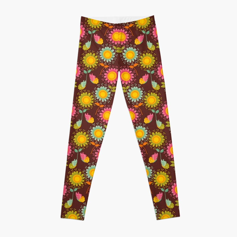 Colorful daisies with butterflies Leggings