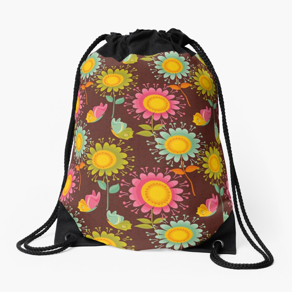 Colorful daisies with butterflies Drawstring Bag