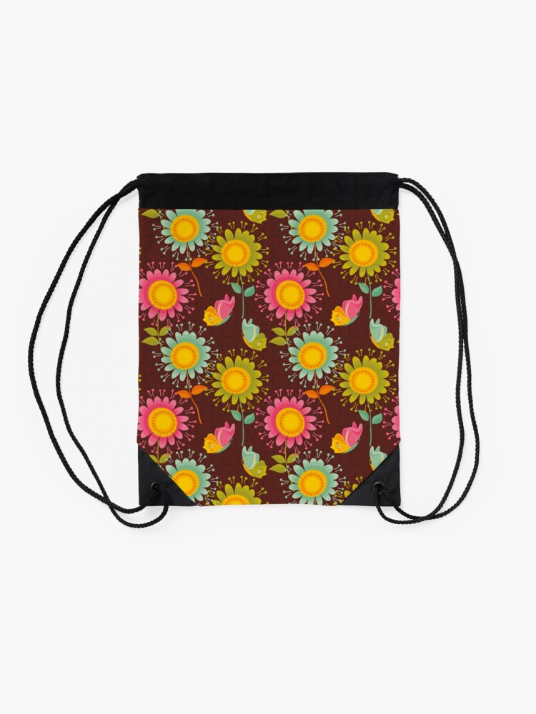 Alternate view of Colorful daisies with butterflies Drawstring Bag