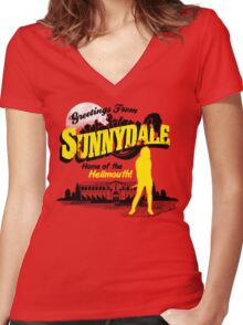 Greetings from Sunnydale  Women's Fitted V-Neck T-Shirt