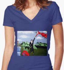 ART DEC  COME FLY WITH ME Women's Fitted V-Neck T-Shirt