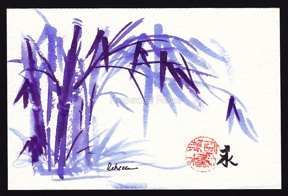 Now and Zen - Original Plein Air Bamboo drawing/painting at Huntington Library and Gardens by Rebecca Rees
