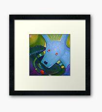 Blue Dog with Orange Ball Framed Print