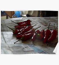 Drying Peppers Poster