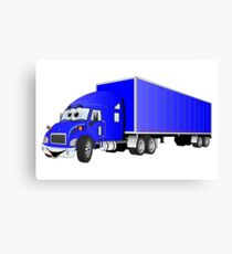 Semi Truck Blue Trailer Cartoon Canvas Print