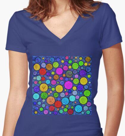 #DeepDream Color Circles Visual Areas 5x5K v1448629304 Fitted V-Neck T-Shirt