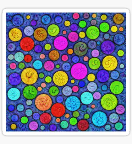 #DeepDream Color Circles Visual Areas 5x5K v1448629304 Sticker