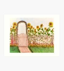 Garden Picket Fence Sunflowers Floral Cathy Peek Art Print