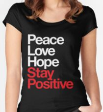 Peace Love Hope Stay Positive (white/red) Women's Fitted Scoop T-Shirt
