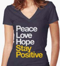 Peace Love Hope Stay Positive (white/mustard) Women's Fitted V-Neck T-Shirt