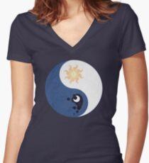 Celestia and Luna Yin Yang Women's Fitted V-Neck T-Shirt