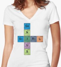 GIRL GENIUS! Periodic Table Scrabble Women's Fitted V-Neck T-Shirt