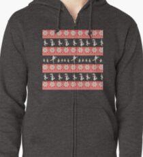 Mary Christmas Sweater Print Zipped Hoodie