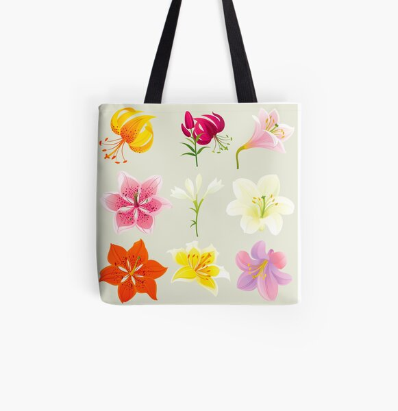 Colorful Lilies All Over Print Tote Bag