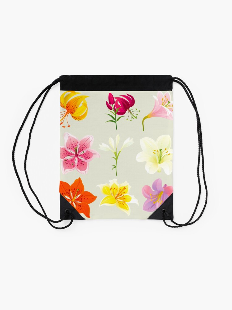 Alternate view of Colorful Lilies Drawstring Bag